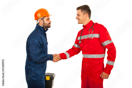 Paramedic and constructor worker meeting