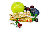 Granola bar with lingonberries and fruit