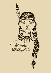 Illustration with beautiful Native American Indian girl
