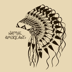 Illustration with Native American Indian chief headdress