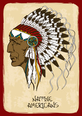 Illustration with Native American Indian chief