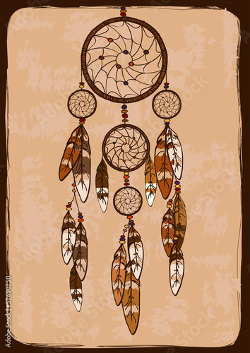 Illustration with tribal dreamcatcher