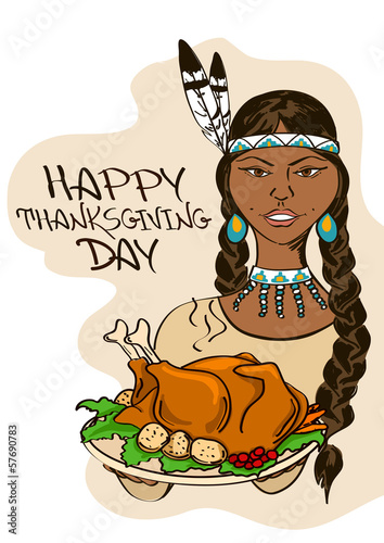 Thanksgiving card with Native American Indian girl