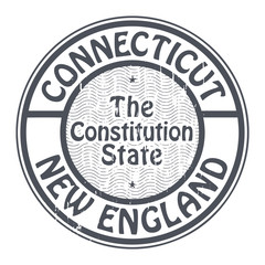 Grunge rubber stamp with name of Connecticut, New England