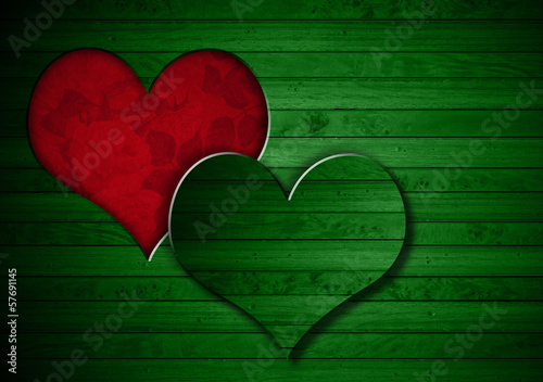 Heart Shape cut on Green Wooden Wall