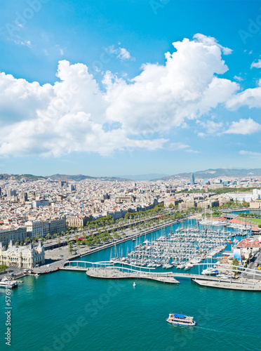 Aerial view of the Harbor district in Barcelona, Spain - 57691146