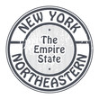 Grunge rubber stamp with name of New York, Northeastern