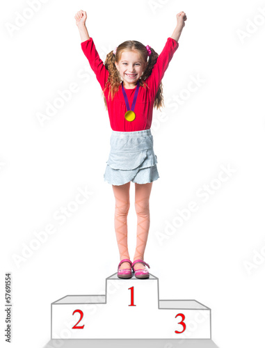 winner on a podium