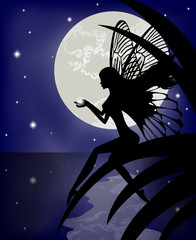 Silhouette fairy girl holding a star