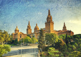 Placa De Espanya, the National Museum in Barcelona. Spain. poster