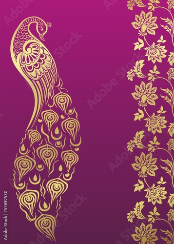 peacock, wedding card design, royal India