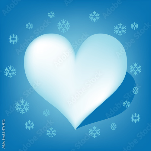Blue Heart with Koch snowflake vector