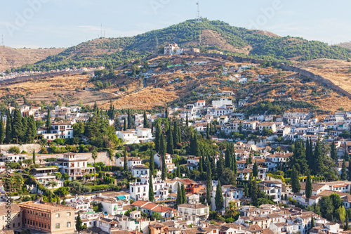 View of the Arab quarter at sunrise, Granada, Spain