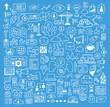 Business and website development doodles elements