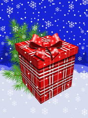 Новогодний подарок и ёлка.Векторая открытка