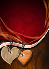 Red and Wooden Romantic Background
