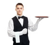 Young smiling waiter with empty tray - 57694133