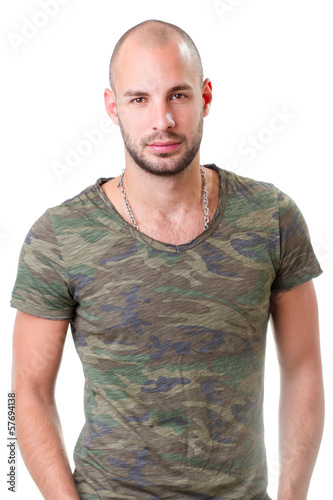 young man portrait, he wearing army t-shirt