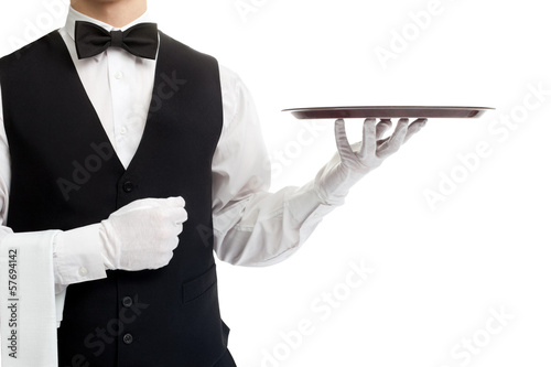 Waiter torso with empty tray