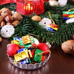 weihnachtlcihe tischdeko zum naschen