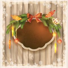 Christmas frame board, garland, ornaments, birds