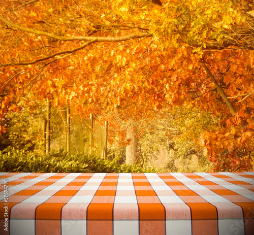 Fotobehang Picknick Tablecloth on Autumn