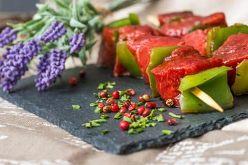 tasty beef steak kabobs with vegetables