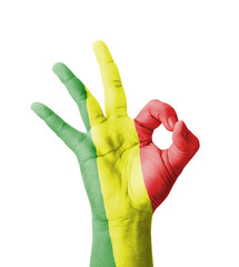 Hand making Ok sign, Mali flag painted