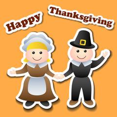 Cartoon pilgrim stickers for Thanksgiving