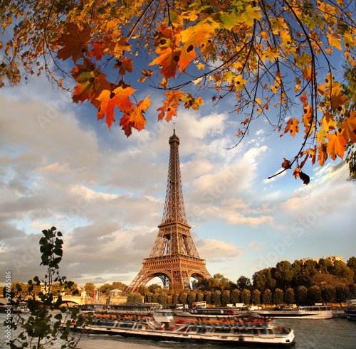 Eiffel Tower with autumn leaves in Paris, France - 57695586