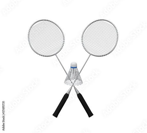 Badminton Rackets and a Shuttlecock