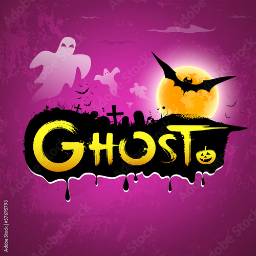 Halloween Ghost message on purple background, vector