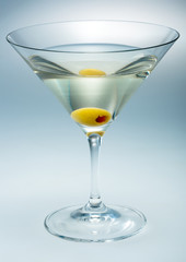 Martini with olive isolated. vermouth