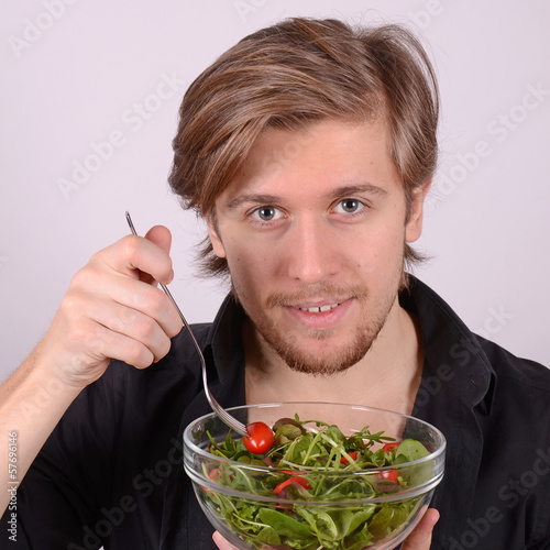 eating fresh salad