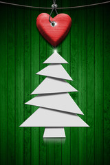 Stylized Christmas Tree on Green Wood Background