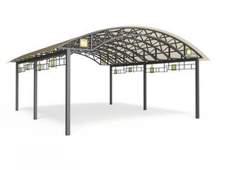 Wrought iron canopy isolated on white background
