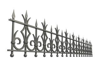 Forged fence isolated on white background