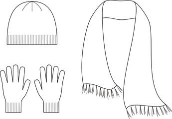 Vector illustration of winter cap, scarf, gloves