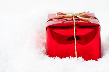Christmas Gift Box in Snow