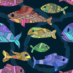 seamless pattern with ornated fishes