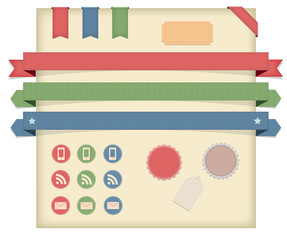 A pack of labels, icons ribbons and badges.