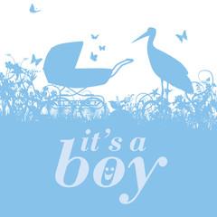 Storch und Kinderwagen mit es ist ein Junge