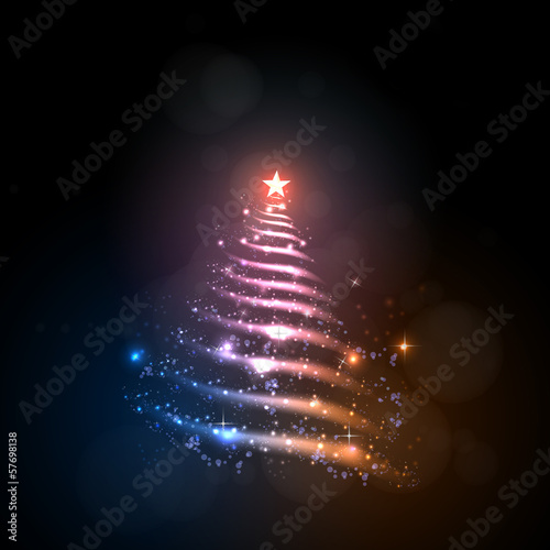 Abstract christmas tree, easy all editable