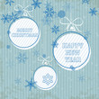 blue retro christmas card with blue falling snowflakes