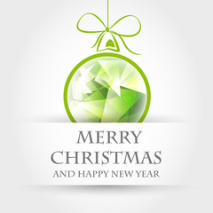 green crystalline christmas ball with ribbon