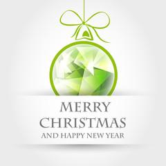 green crystalline christmas ball with ribbon