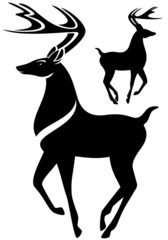 deer black and white vector illustration