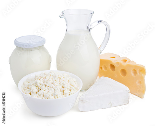 Staande foto Zuivelproducten dairy products isolated on white
