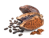 Fototapety Cocoa pod, beans and powder isolated on a white