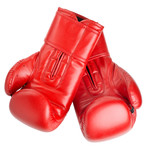 red leather boxing gloves isolated on white
